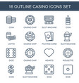 casino icons vector image vector image