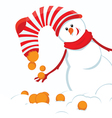 christmas card with snowmans vector image vector image