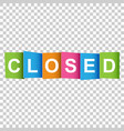 closed tag market message flat on white background vector image vector image