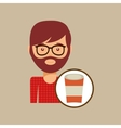 cup coffee hipster man face icon vector image