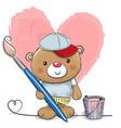 cute cartoon artist teddy bear vector image vector image