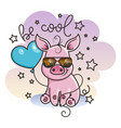 cute cartoon baby pig in a cool sunglasses vector image