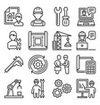 engineering and manufacturing icons set on white vector image vector image