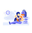 female student sitting and reading books vector image vector image