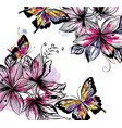 floral background with flowers and butterflies vector image