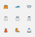 garment icons colored line set with underpants vector image vector image