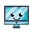 grated smile computer screen kawaii cartoon vector image
