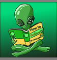 green reptilian alien from outer space reading vector image vector image