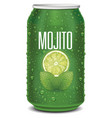green tin can with mojito text lime slice mint vector image vector image