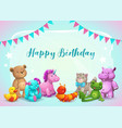 happy birthday cute greeting vector image vector image