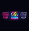 happy janmashtami greeting card neon design vector image
