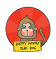 Happy Monkey Year 2016 Hand Drawn Character vector image vector image