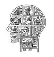 human head house engraving vector image vector image