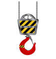 industrial red crane hook over white background vector image vector image