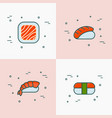 japanese food thin line icons of sushi and rolls vector image vector image