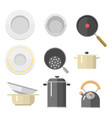 kitchen dishes flat icons isolated vector image