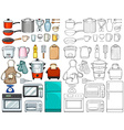 Kitchen tools and equipments vector image vector image