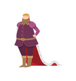 medieval royal king with violet clothes and vector image vector image