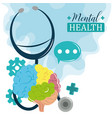 mental health day stethoscope brain cognitive vector image vector image