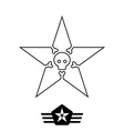 minimal monochrome vintage star with skull and vector image