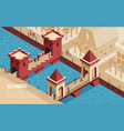 old bridges isometric composition vector image