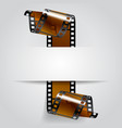 paper banner with a brown curled film strip vector image vector image