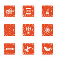 plastic icons set grunge style vector image vector image