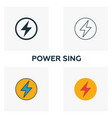 power sing icon set four elements in diferent vector image