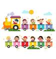 preschool kids with train numbers vector image