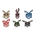rabbit head icons vector image vector image