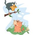 Raven and Cat Cartoon vector image