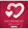 red background with two valentine hearts vector image vector image