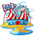 scene with rides at circus on white background vector image vector image