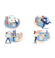 set of stressed business people flat vector image vector image