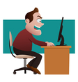 Shocked businessman looking at computer vector image vector image