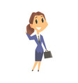 smiling businesswoman character in formal wear vector image vector image