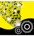 Speakers on beautiful shiny yellow abstract vector image