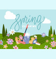 spring cleaning background with cleaning tools in vector image vector image