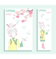 Spring sale banner with cute girl vector image vector image