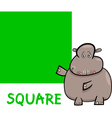square shape with cartoon hippo vector image vector image