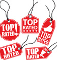 Top rated red tag set vector image vector image