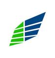 wing panel block business blue green symbol vector image