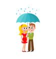 young couple walks keeping umbrella vector image
