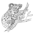 Zentangle patterned koala bear sitting on vector image