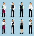 set of waiter and waitress couple characters vector image