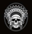 skull of native american indian warrior vector image