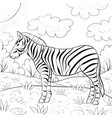 a children coloring bookpage a cute zebra on the vector image