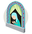 arabic girl praying inthe window vector image vector image