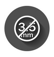 audio jack 35mm in ban sign icon with long shadow vector image