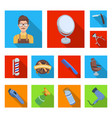 barbershop and equipment flat icons in set vector image
